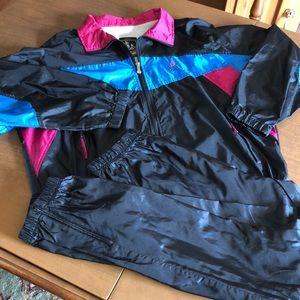 VTG  USA Olympics Black Track Suit Jacket Pants L